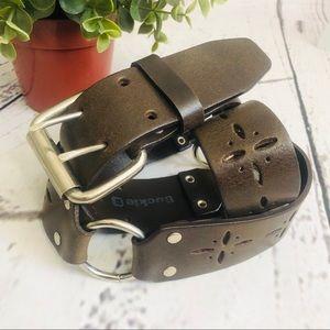Buckle Brown Italian Leather Belt Silver SZ Large